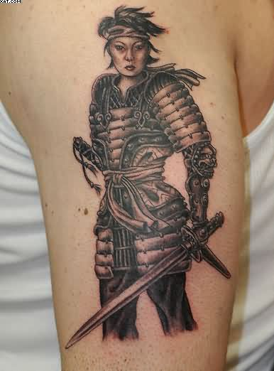 Awesome Samurai Warrior Tattoo For Biceps