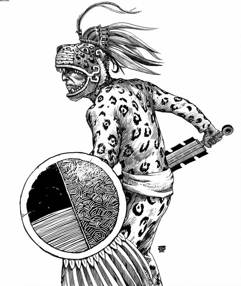 Aztec Jaguar Warrior Tattoo Stencil