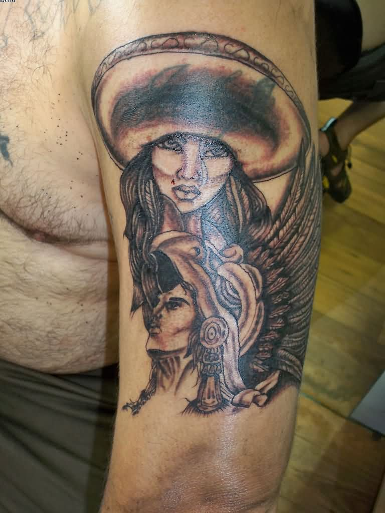 Aztec Lady Warrior Tattoo On Arm