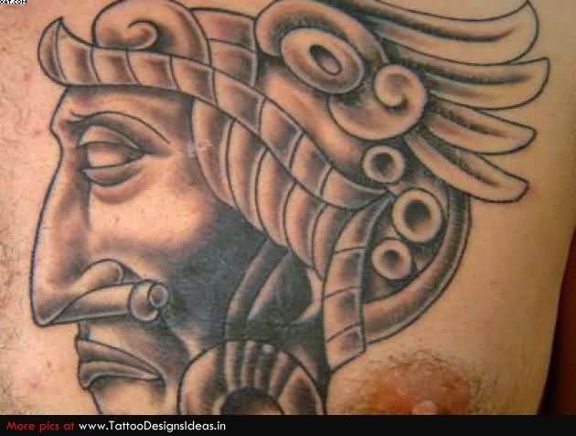 Aztec Warrior Head Tattoo