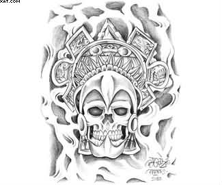 Aztec Warrior Skull Tattoo Design