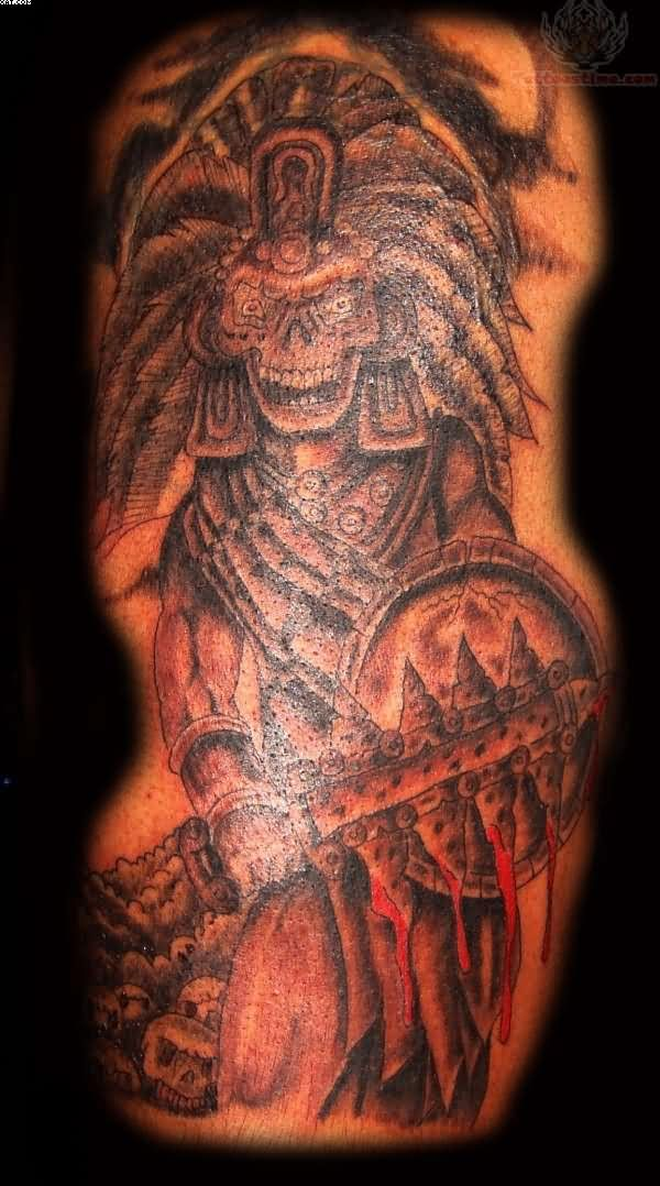 Aztec Warrior Skull Tattoo