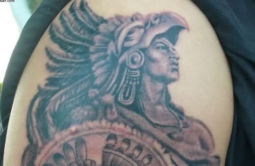 Aztec Warrior Tattoo On Shoulder