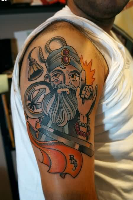 Baba Deep Singh Ji Warrior Tattoo For Biceps