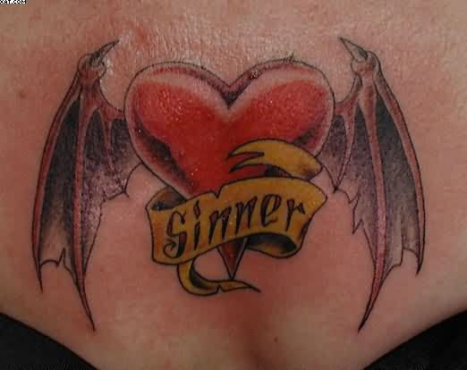 Bat Winged Heart Tattoo For Waist