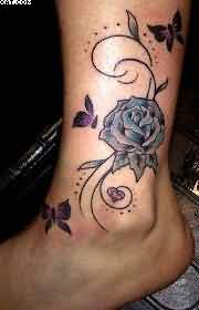Beautiful Rose Vine Tattoo For Ankle