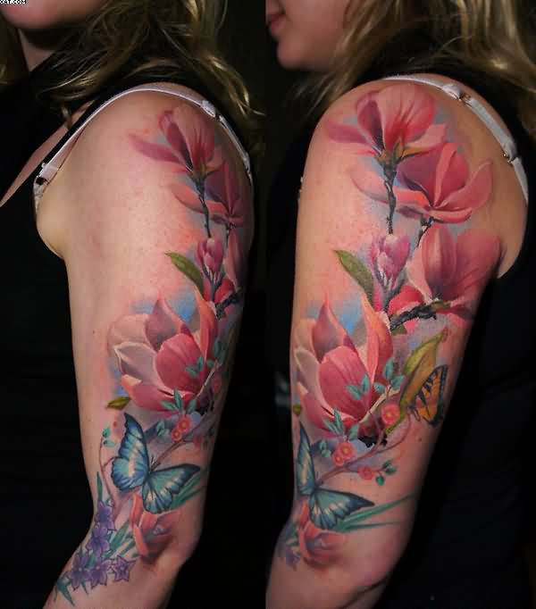 Beautiful Vine And Butterfly Tattoos On Arms