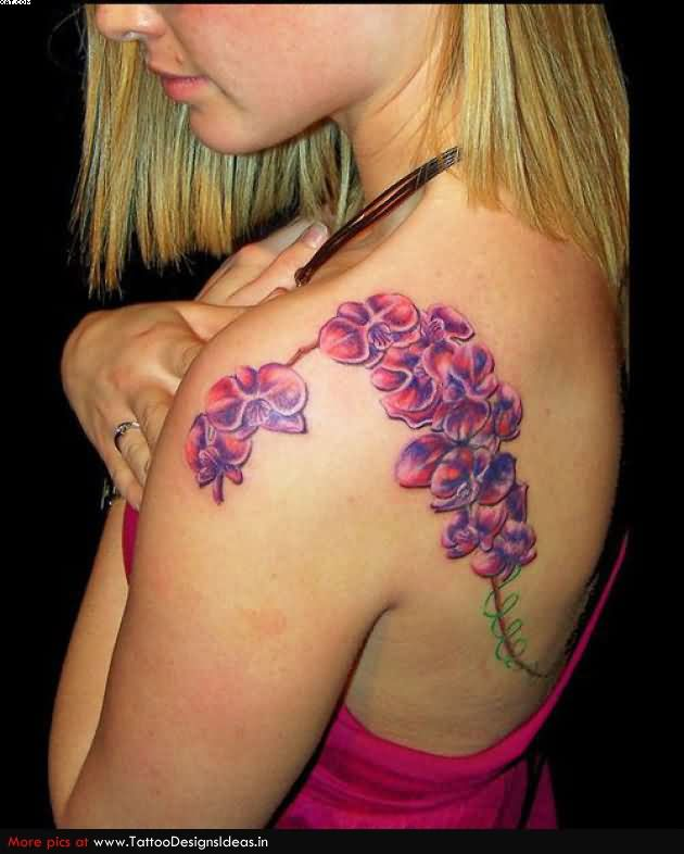 Beautiful Vine Tattoo On Shoulder Blade For Girls