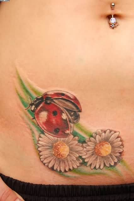 Belly Button Piercing And Waist  Tattoos