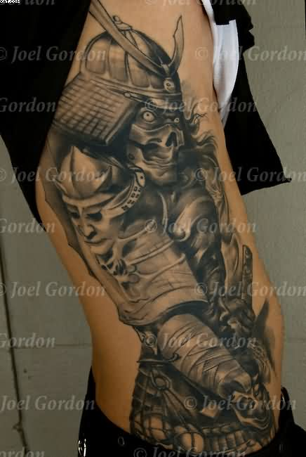 Big Grey Ink Samurai Warrior Tattoo On Ribs