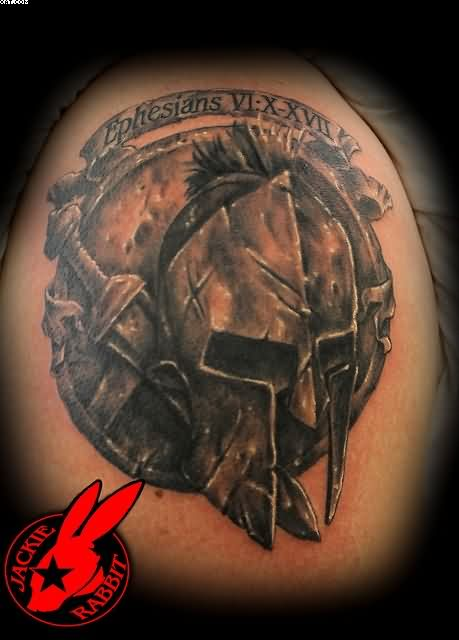 Black And Grey Ink Spartan Warrior Tattoo