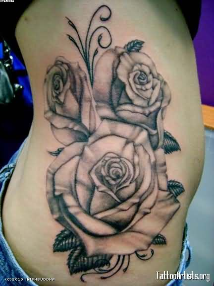 Black And Grey Roses Vine Tattoos On Ribs
