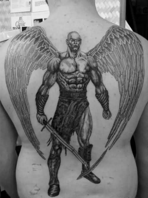 Black And White Big Angel Warrior Tattoo On Back
