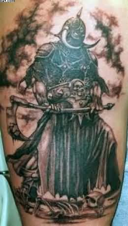 Black Ink Roman Warrior Tattoo