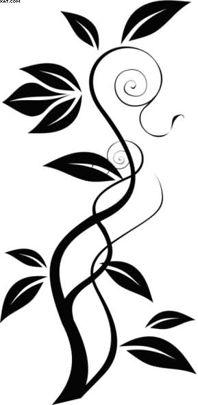 Black Ink Vine Tattoo Stencil