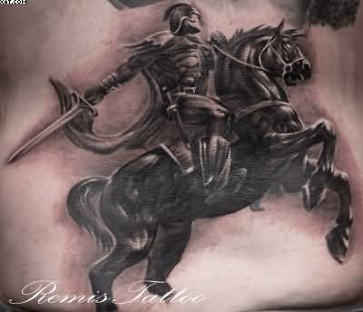 Black Ink Warrior Riding Horse Tattoo