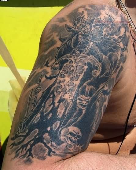 Black Ink Warrior Tattoo For Biceps