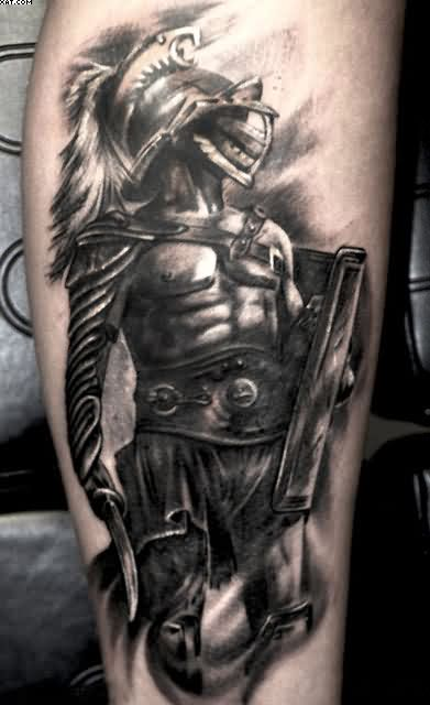 Black Ink Warrior Tattoo