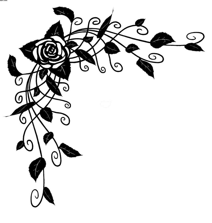 Black Rose Vine Tattoo Design