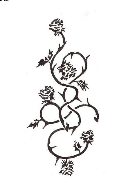 Black Rose Vines Tattoo Design