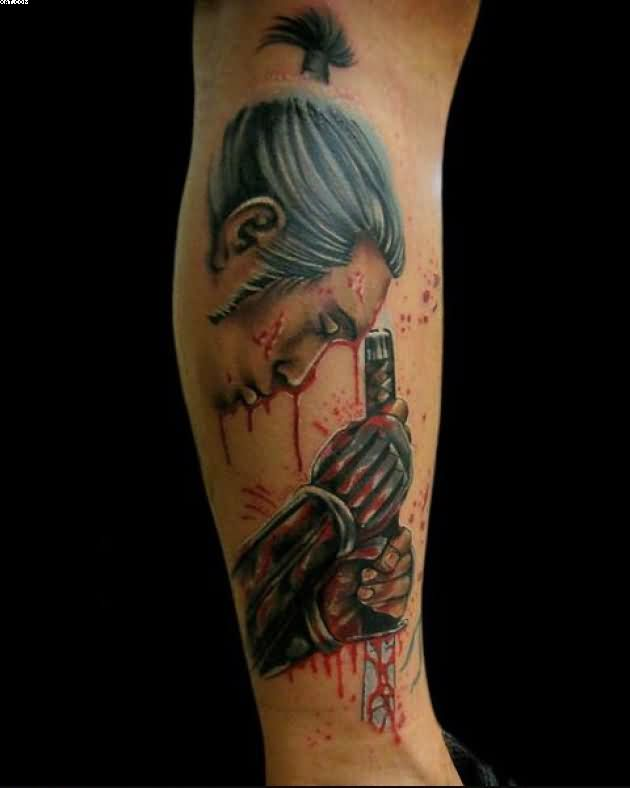Bleeding Samurai Warrior Tattoo On Leg