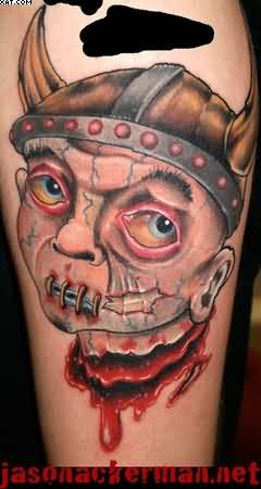 Bleeding Warrior Head Tattoo