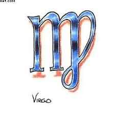 Blue Virgo Symbol With Shading Tattoo Design