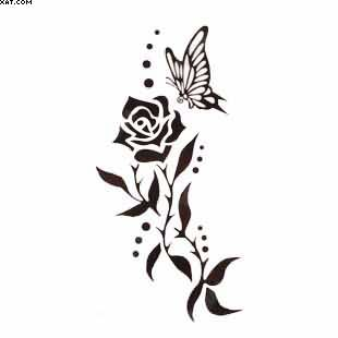 Butterfly On Rose Vine Tattoo Design