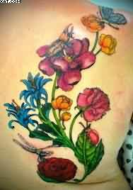 Butterfly Vine Flowers Tattoos On Back Shoulder
