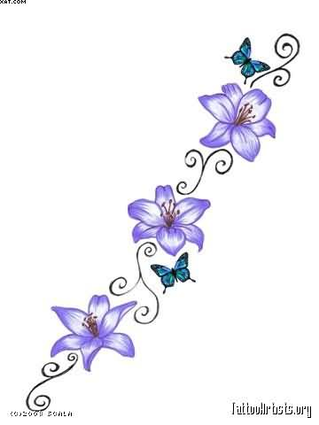 Butterfly With Blue Flowers Vine Tattoo Designs