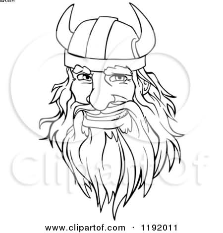 Cartoon Viking Warrior Face Tattoo Flash