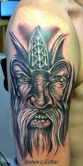Celtic Viking Warrior Face Tattoo For Biceps