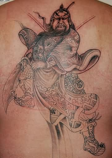 Chinese Fearless Warrior Tattoo On Back