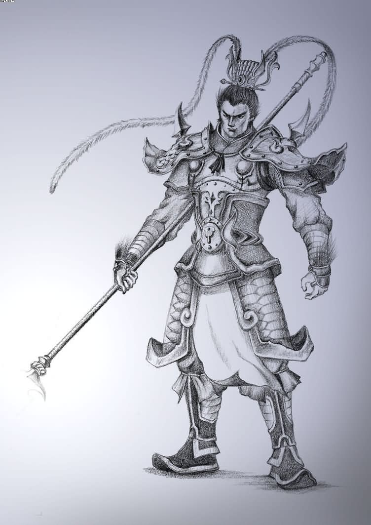 Chinese Warrior Tattoo Sketch
