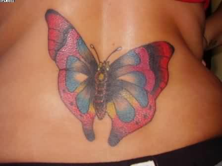 Color Ink Butterfly Back Waist Tattoo For Girls