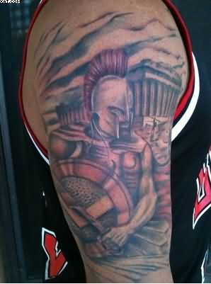 Color Ink Spartan Warrior Tattoos On Half Sleeve