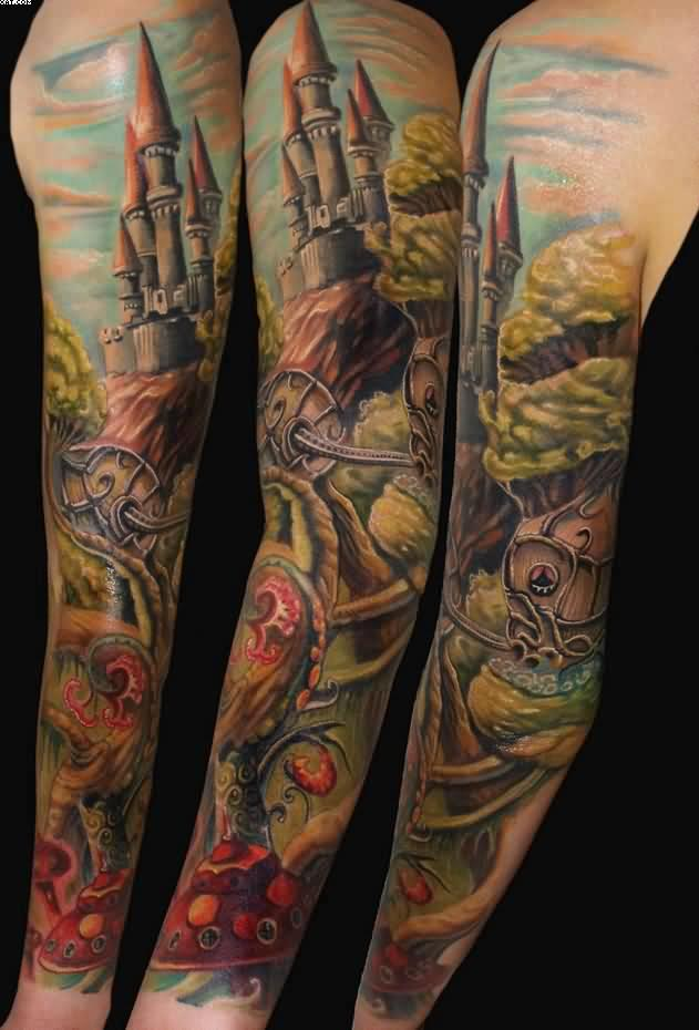 Color Ink Warrior Sleeve Tattoos