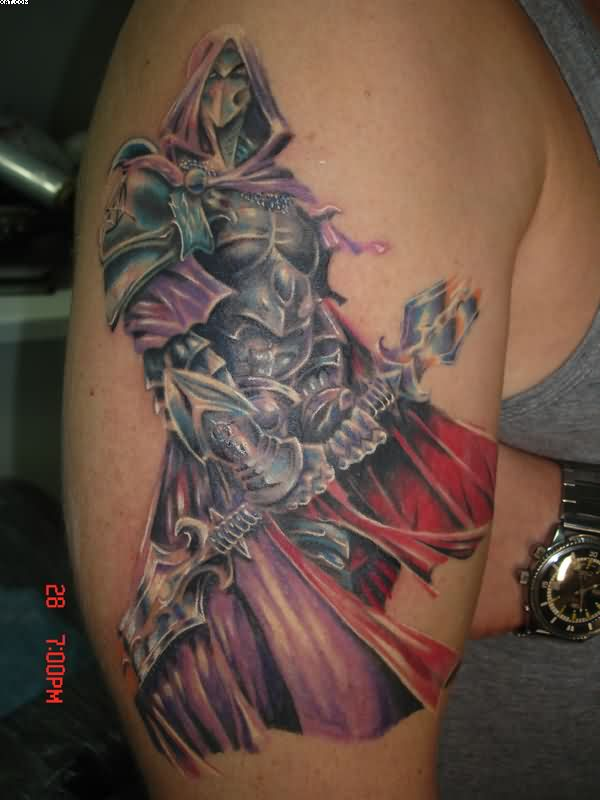 Color Ink Warrior Tattoo On Biceps