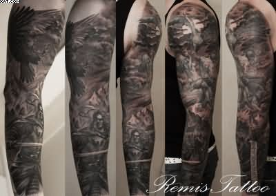 Dark Warriors Sleeve Tattoos
