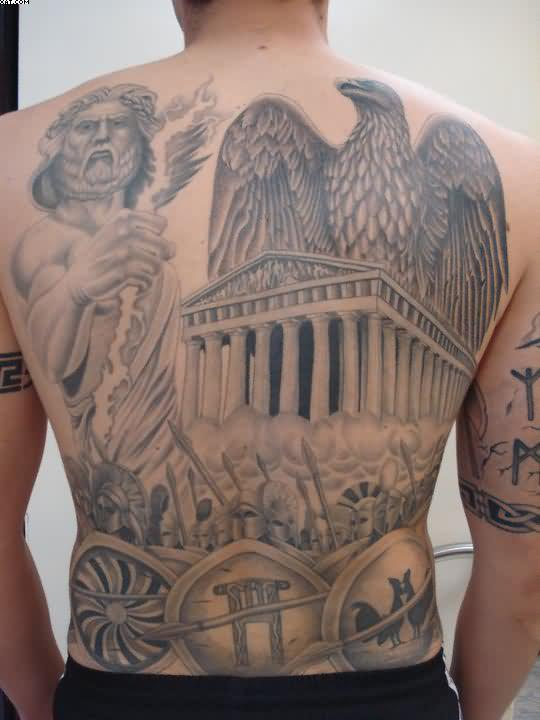 Eagle And Ancient Greek Warrior Tattoos On Back
