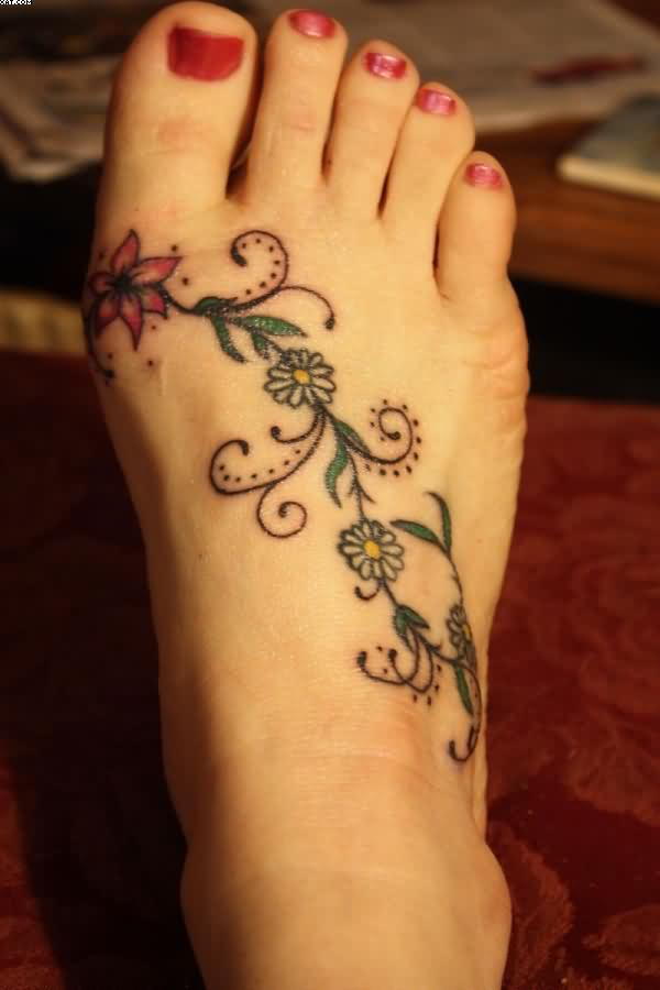 Elegant Flower Vine Tattoo On Right Foot