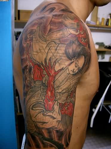Fabulous Japanese Warrior Sleeve Tattoo For Men