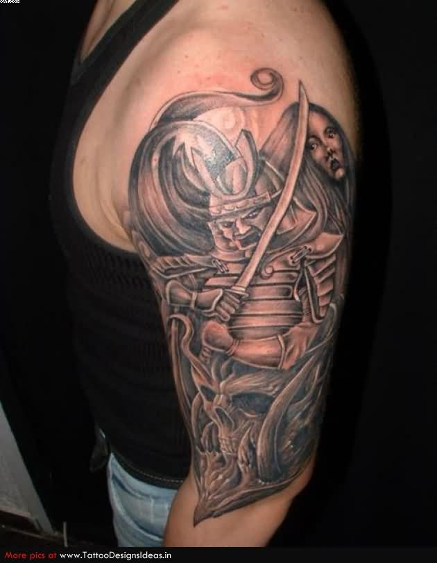 Fabulous Samurai Warrior Tattoo For Biceps