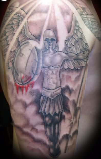 Fabulous Warrior Angel Tattoo For Arm
