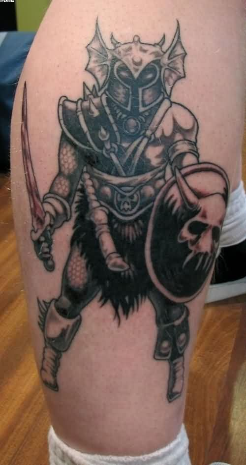 Fabulous Warrior Tattoo For Leg