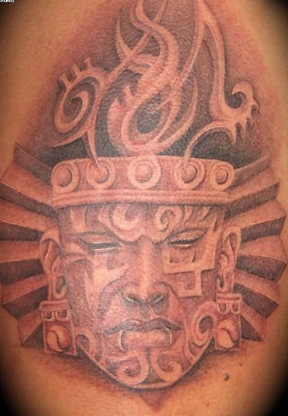 Face Of Aztec Warrior Tattoo