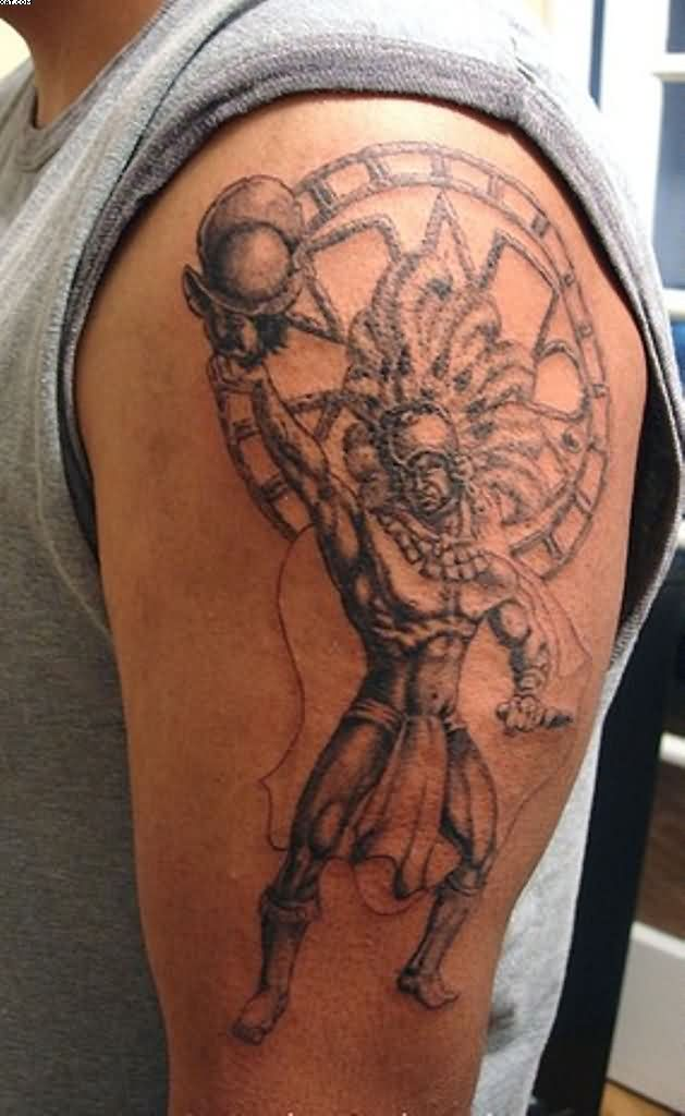 Fantastic Aztec Warrior Tattoo For Biceps