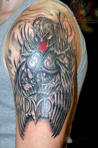 Fantastic Chinese Warrior Tattoo On Biceps