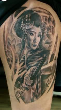 Fantastic Japanese Lady Warrior Tattoo