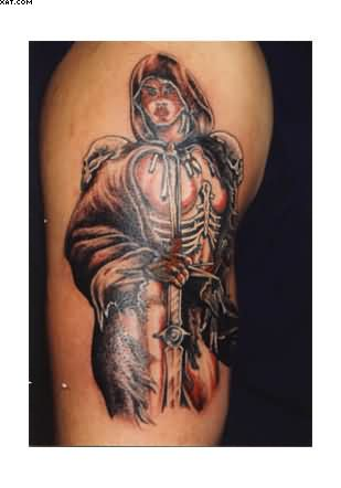 Fantastic Roman Warrior Tattoo On Biceps